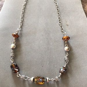 "Jewelry - Glass works necklace 17"" silver and brown tones"